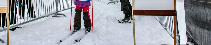 young skier at start gate