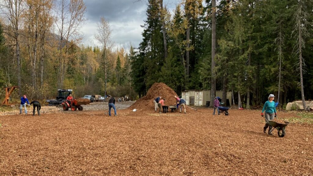 work party wood chips